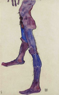 Egon Schiele (1890-1918), Male Lower Torso, 1910. Black chalk and gouache, 44.8 x 28.1 cm. The Leopold Museum, Vienna.