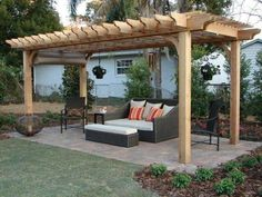 Create more shade on your patio with a retractable canopy. Add a canopy to any full size pergola kit on our site size up to Diy Pergola, Wooden Pergola Kits, Building A Pergola, Wood Pergola, Pergola Shade, Pergola Ideas, Patio Ideas, Cheap Pergola, Curved Pergola