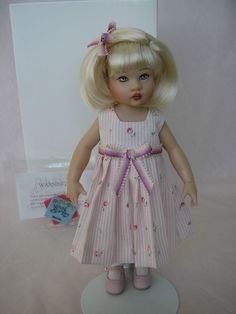 """Kish RILEY DOLL, MAUVE PINK DRESSED, REWIGGED, Excellent cond, STAND, 7"""" #Kish sold 1/2018 Plus $5.75 SHIPPING"""