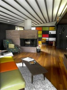 Color blocked, Mondrian-style, Skittles-paletted mid-century home decor