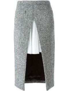 Sacai двухслойная юбка с узором в елочку Black High Low Skirt, Black Pleated Skirt, Dress Black, Tweed Skirt, Skirt Suit, Skirt Pants, Dress Skirt, Stylish Outfits, Hijab Fashion