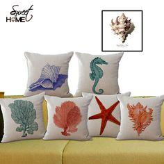 Goedkope Ocean Serie Marine zee dieren sofa gooi decoratieve kussen seahorse…