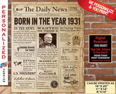 1931 Birthday NEWSPAPER Poster for 90th Birthday | 1931 Facts for 90th Adult Birthday | AUTHENTIC Look Printable Poster | Personalized 85th Birthday, Birthday Fun, Birthday Signs, Birthday Ideas, 60th Birthday Party Decorations, Great Birthday Gifts, Newspaper, At Least, Printable
