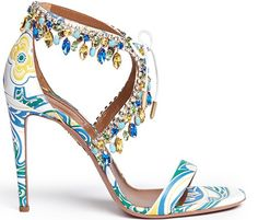 Aquazzura Milla pretty printed silk sandal embellished with matching crystals and white leather laces