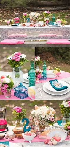 Party decor - Pink and punchy blue - soft feminine florals, like this then throw in sewing items