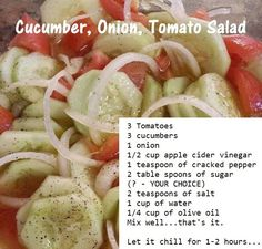 the taste space the taste space Cucumber, Onion and Tomato Salad<br> Cucumber Onion Salad, Tomato And Onion Salad, Cucumber Salad Vinegar, Vinegar Cucumbers, Tomato Salad Recipes, Cucumbers And Onions, Cucumber Recipes, Chicken Salad Recipes, Vegetable Recipes