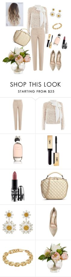 """""""gold leather bag"""" by prettycarole ❤ liked on Polyvore featuring DKNY, Victor Xenia, Comme des Garçons, MAC Cosmetics, Dolce&Gabbana, Gianvito Rossi and Calvin Klein"""