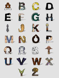 This ABC print uses Star Wars characters to represent each letter, making it just a little cooler than your ABC print.