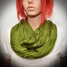 Olive Green Silk scarf  Infinity scarf by Pixiesdance on Etsy, $19.00
