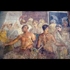 THE TAKING OF BRISEIS.  Roman fresco from Pompeii, c. first century ad.