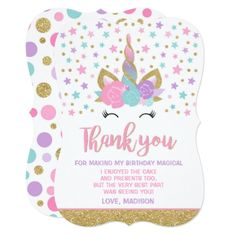 Magical Unicorn Thank You Card Unicorn Party - thank you gifts ideas diy thankyou
