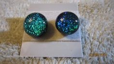 LUCKY IRELAND EMERALD GREEN DICHROIC GLASS STUD POST EARRINGS L@@K !   Imaginative_Creations - Jewelry on ArtFire