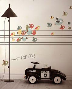 Little Hands Wallpaper Mural - Wait for Me on Behance Playroom Design, Nursery Design, Wall Design, Bird Wallpaper, Unique Wallpaper, Amazing Wallpaper, Bedroom Wallpaper, Bedroom Murals, Kids Bedroom