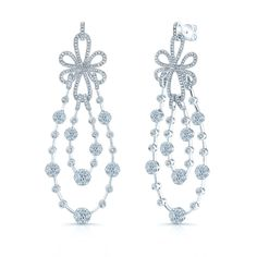 Iris Earring 18K White Gold 5.00 Carat Total Weight and features Coronet Solitaire Patented Setting. [Promotional Pin]