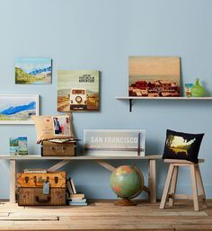 Get traveling! Create a space inspired by life and adventure. Gather photos of favorite sites, maps, and destinations from near and far on Shutterfly wood wall art, pillows, metal prints and more. | www.Shutterfly.com