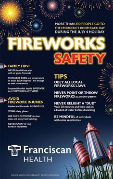"""Even if you consider yourself an """"expert"""" at putting on a firework display, accidents happen. You should always take extra steps to ensure your safety while showing off to the neighborhood. Follow these firework safety tips. July 4th Holiday, Fourth Of July, Healthy Kids, How To Stay Healthy, Firework Safety, Roman Candle, How To Read Faster, Health Infographics"""