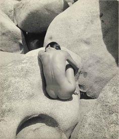 """coyotenegro: """" Nude on Basalt Rocks, Fritz Henle, 1955 """""""