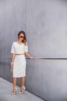 petite fashion blog, lace and locks, los angeles fashion blogger, morning lavender, lace crop top, lace skirt, lace matching set