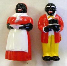 Vintage Aunt Jemima & Uncle Moses Salt & Pepper Shakers Quaker Oats premiums Marked F & F Mold & Die Works Sold for 82.00