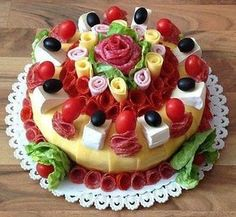 Sweet Home: Beautiful sandwich. Food Cakes, Appetizer Sandwiches, Meat Platter, Sandwich Cake, Food Garnishes, Salty Cake, Food Decoration, Food Platters, Food Humor