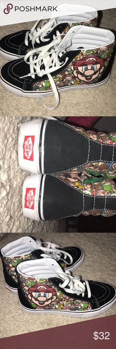 Limited edition super Mario vans Worn a handful of times, my moms, bought for a costume party, 7.5 women's, 6 mens Vans Shoes Sneakers