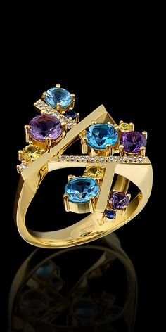 Master Exclusive Jewellery Ring From Kaleidoscope Collection Gold Diamond Sapphire Amethyst And Topaz. I Love Jewelry, Gems Jewelry, Jewelry Art, Jewelry Accessories, Fine Jewelry, Fashion Jewelry, Jewelry Design, Unique Jewelry, Lila Gold