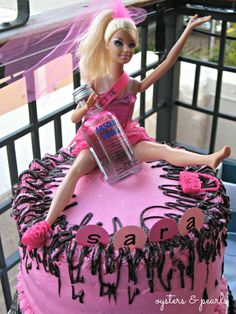 I'm pinning this because SARA, note her missing shoe! - Barbie Bachelorette Cake with Easy Chocolate Ganache