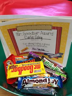 candy bar awards for end of the year, each student gets one and walks the 'red carpet' when they get it.  LOVE