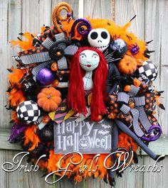 Nightmare Before Christmas Halloween Wreath, Sally and Jack Skellington
