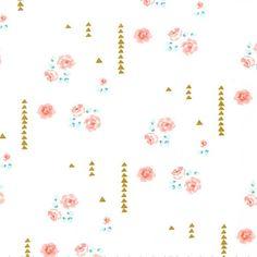 Gold & Coral Floral Fabric | Michael Miller Brambleberry Ridge Rosemilk