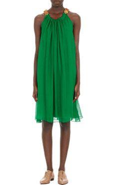 Lanvin Bejeweled Halter Dress