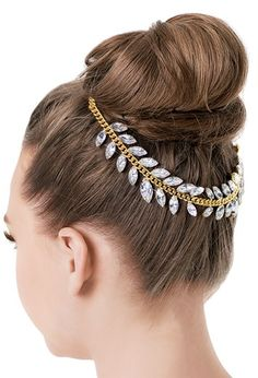 Buy Rhinestone Leaf Bun Wrap from DANCEWEAR SOLUTIONS A glamorous finishing touch to any dance costume, this exquisite hairpiece features a gold chain accented with rhinestone leaf garland. Dance Accessories, Costume Accessories, Hair Accessories, Ballroom Hair, Ballroom Dance, Bun Wrap, Gold Hair Clips, Dance Hairstyles, Dance Fashion