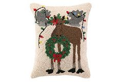 Holiday Moose 14x18 Pillow, Multi