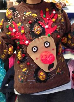 do it yourself ugly christmas sweater Ugly Sweater Day, Ugly Sweater Contest, Diy Ugly Christmas Sweater, Christmas Fun, Xmas Sweaters, Christmas Clothes, Reindeer Christmas, Christmas Outfits, Christmas Parties