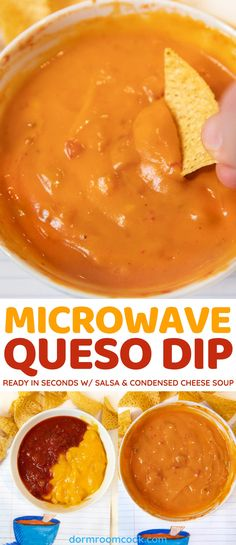 Ready in seconds w/salsa Healthy College Meals, College Food, Dip Recipes, Snack Recipes, Cooking Recipes, Easy Microwave Recipes, Study Snacks, Dorm Food, Cheddar Cheese Soup