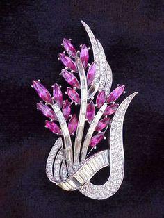 Vintage Signed Crown Trifari Art Deco Pink Clear Rhinestone Floral Spray Pin Old | eBay