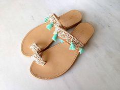 Zapatos de cordón y borlas de cuero sandalias  por MadebyMarKa