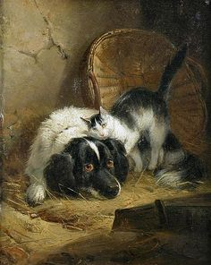 Study of a Spaniel with a Grey Cat by Henriette Ronner-Knip (1821-1909)