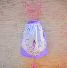 Hostess Apron Vintage Linen Half Apron Vintage by LizandLaurie, $20.00