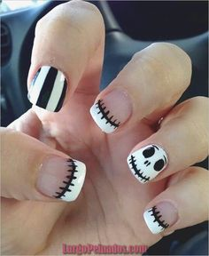 Cute Jack Skellington Nightmare Before Christmas Nails. Are you looking for easy Halloween nail art designs for October for Halloween party? See our collection full of easy Halloween nail art designs ideas and get inspired! Easy Nails, Easy Nail Art, Simple Nails, Cute Nails, Pretty Nails, Easy Disney Nails, Gorgeous Nails, Halloween Nail Designs, Halloween Nail Art