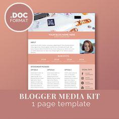 Blogger Media Kit Template  Blog Marketing Kit  Word Press Kit
