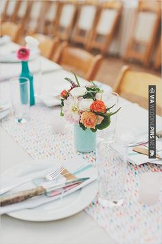 colorful table runner | CHECK OUT MORE IDEAS AT WEDDINGPINS.NET | #wedding