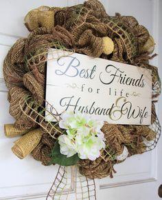 Wedding Burlap Wreath – Best Friends - Mr and Mrs Wreath – Marriage Engagement Anniversary Wreath