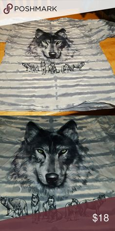 Green Eyed Wolf Tie Dye Grey and white tie dye with wolves. Main wolf has green eyes. Shirts Tees - Short Sleeve