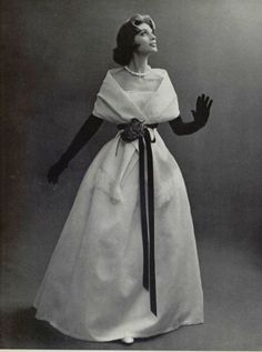 Model wearing an evening gown by Christian Dior, 1956.