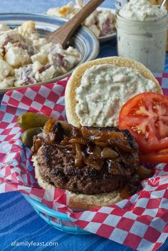 Our recipe for Seasoned Hamburgers with Caramelized Onions - so good and so easy! Great for summer barbecues.