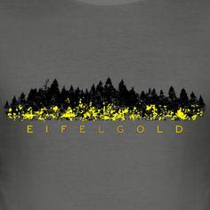 Eifel T-Shirts mit Eifelgold. Das Gold der Eifel ist der Ginster, der im Mai die Eifellandschaften rund um Monschau, Mayen, Bitburg, Bad Münstereifel, Prüm, Daun, Schleiden, Mechernich, Nideggen, Gerolstein, Hillesheim, Adenau, Monreal, Heimbach, Kall oder Gemünd vergoldet.