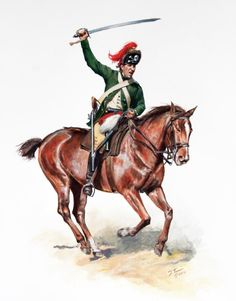 American Revolution. A British Light Dragoon of the 17th Regiment in the green jacket they wore during the 1777 Brandywine campaign. Afterwards they seem to have switched back to the red coats.