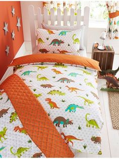 Prehistoric Dinosaur Junior Duvet Cover and Pillowcase Set - Kids Bedding Set