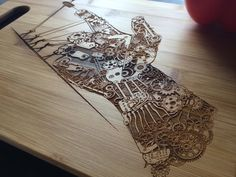 Laser Engraved Bamboo Cutting Board Steampunk by AFamilyForest